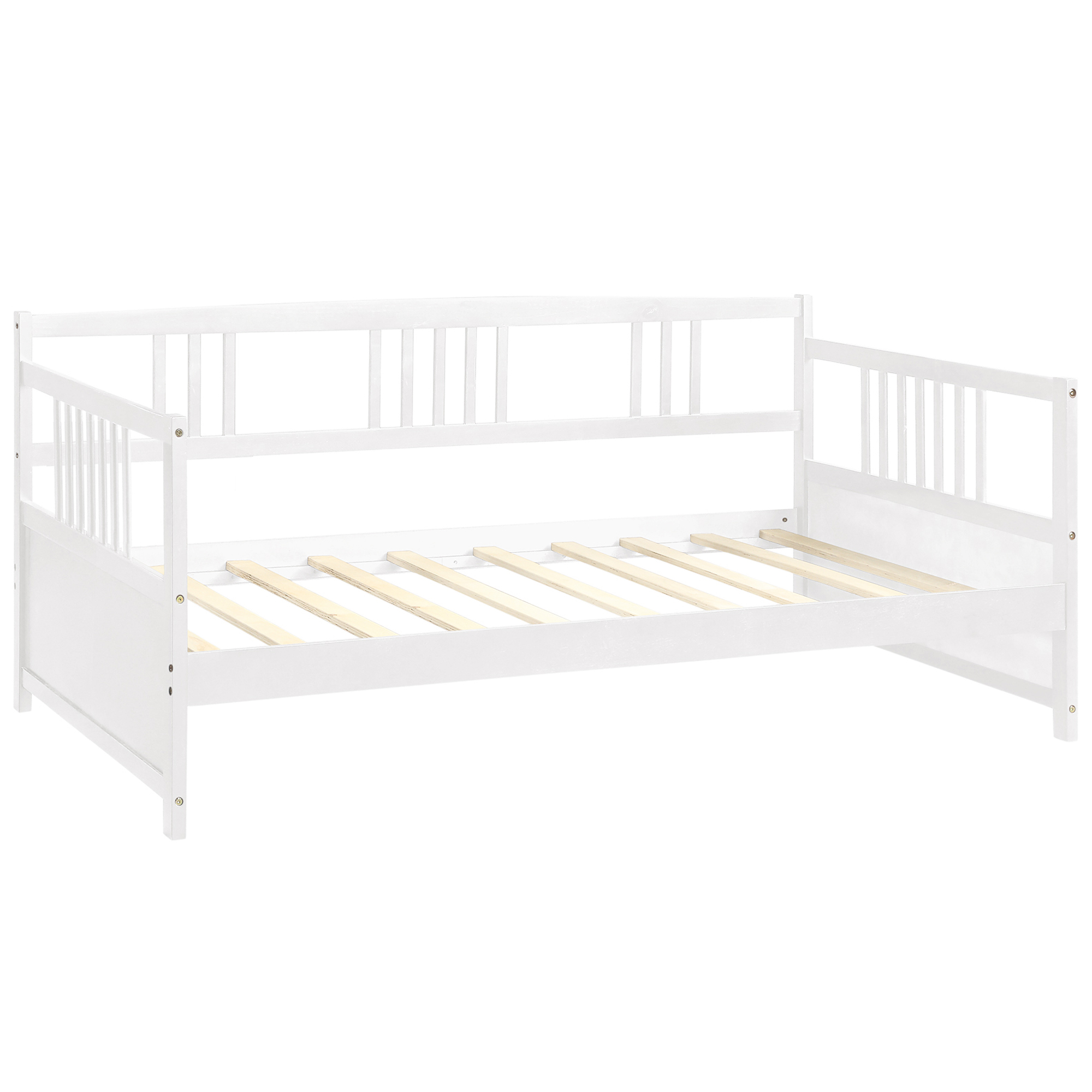 - Solid Wood Daybed, Multifunctional, Twin Size, White