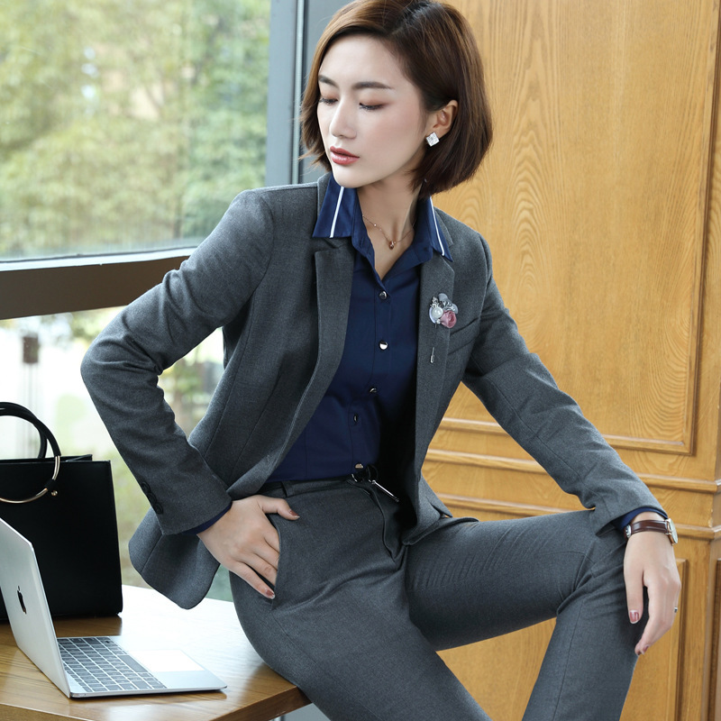 White-collar Professional Wear Women's Suit 2019 Autumn And Winter New OL Slim Large Size Gray Blazer Casual Pants Suit Ladies