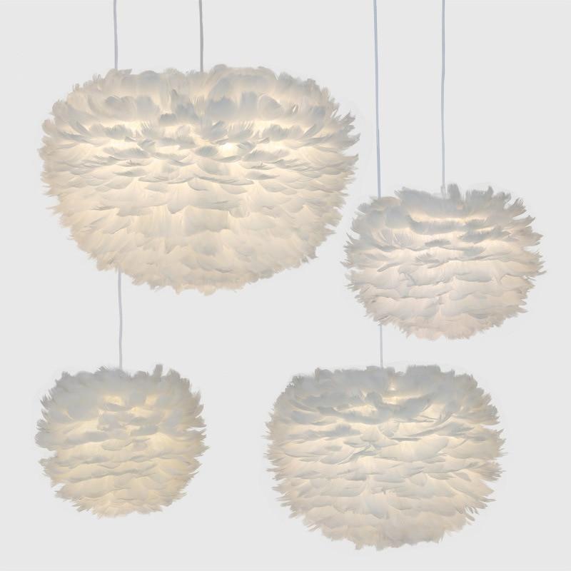 Modern Pendant Lights Feather Lamp Nordic Hanging Lamp Goose Feather Pendant Lamp For Bedroom Living Room Bedside Droplight E27