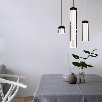 Modern Transparent Acrylic Cylinder Pendant Lights Lighting Nordic LED Hanging Light Living Room Cafe Bar Indoor Decor Fixtures
