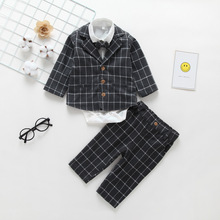 3pcs Set Baby Boy Suits Clothes Cute Romper Jumpsuit Bow Tie Checkers Long Trousers Children Newborn Winter Kids Outfit Full-Sleeves England Style Handsomeboy Plaid