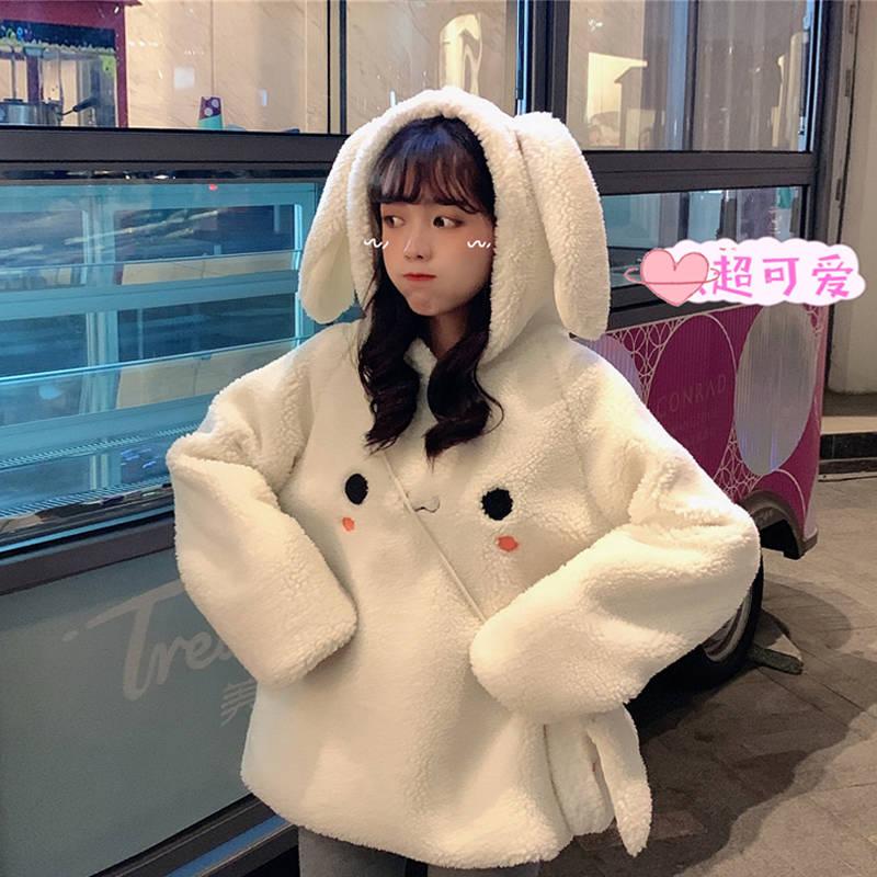 2020 Kawaii Women Hoodies With Ears White Pink Loose Warm Hoodie Cute Outerwear Coat Autumn Long Sleeve Japan Sweatshirt Girls