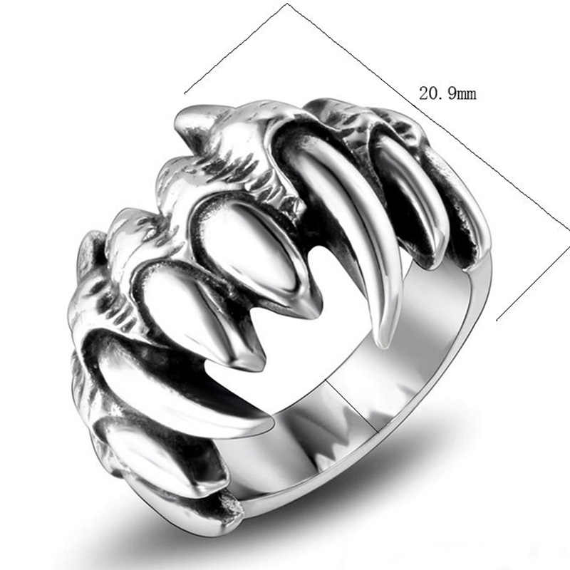 MENS STAINLESS STEEL FLAME SKULL RING STATEMENT RING JEWELLERY GIFT
