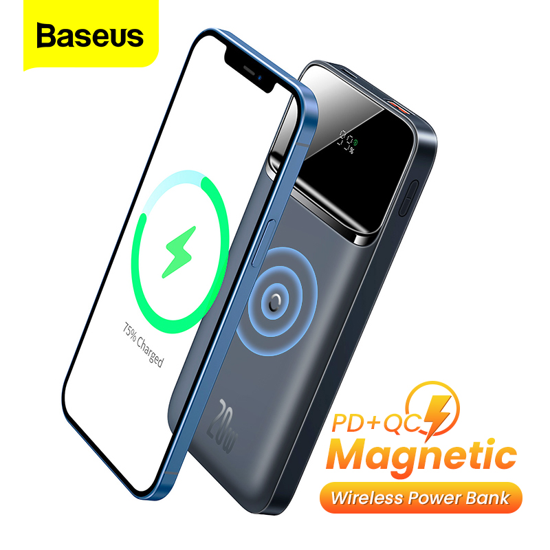 Baseus Magnetic Wireless Charger Power Bank 10000mAh PD 20W External Battery Portable Powerbank For iPhone 12 Pro Samsung Xiaomi