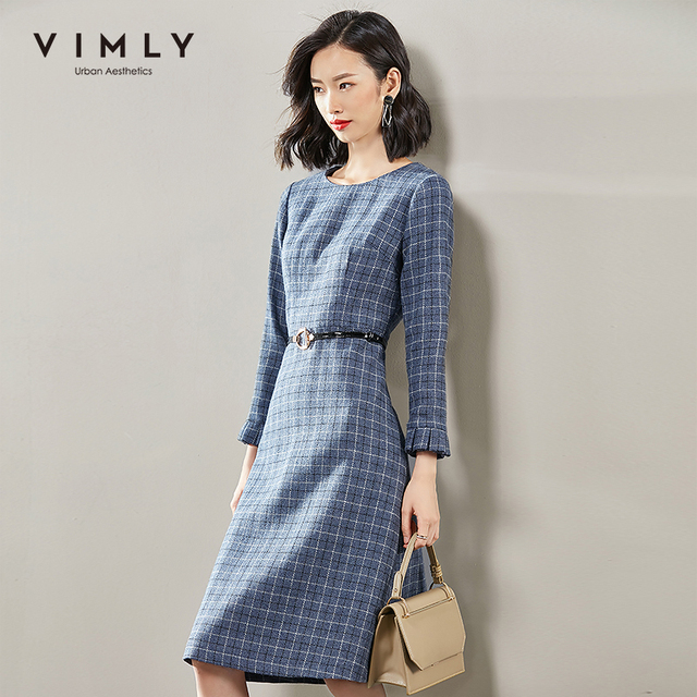Vimly 2020 Autumn Winter Plaid Elegant Dress Office Lady O-neck High Waist Belt Zipper Knee Length Female A-line Dresses 95879 1