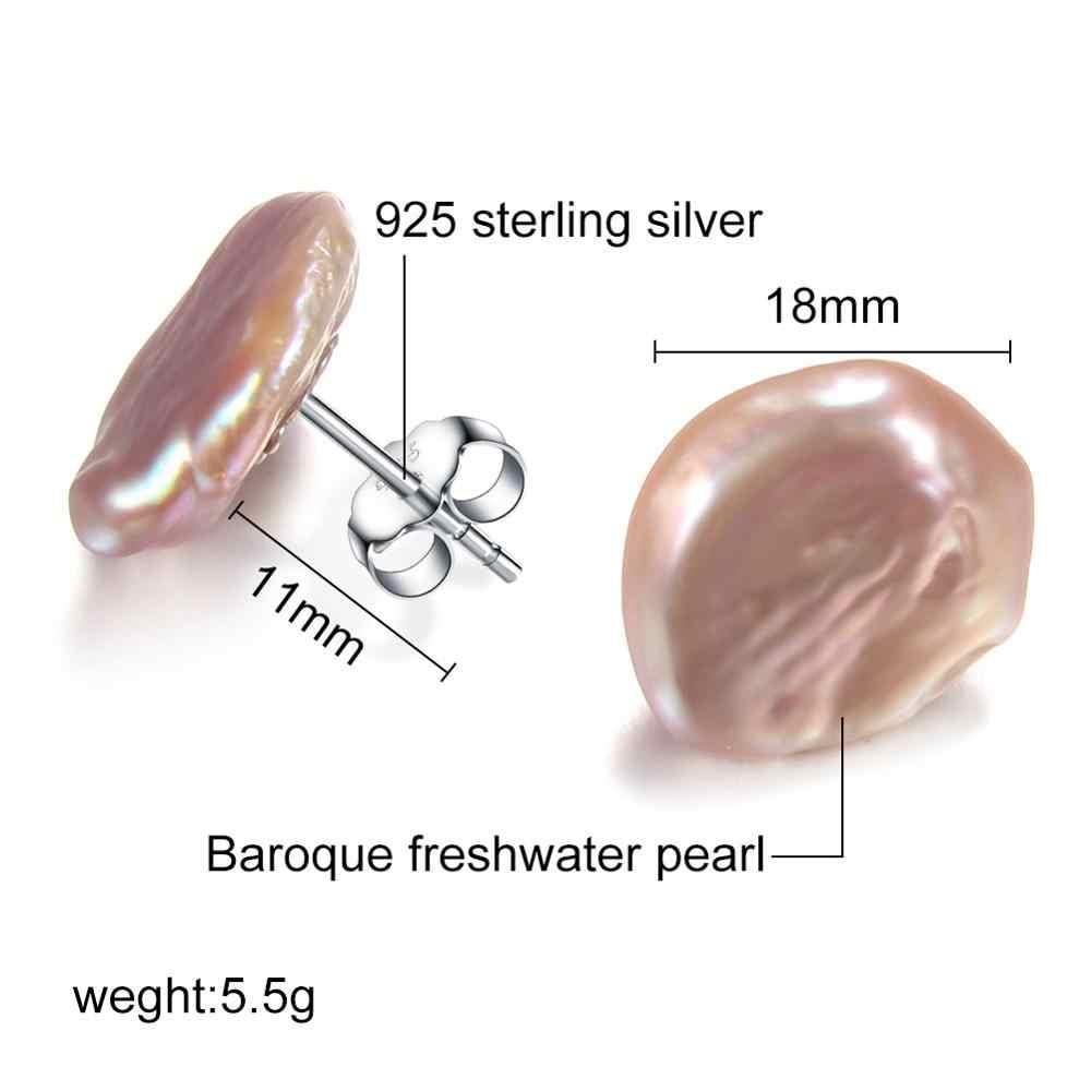 925 sterling silver Orecchini di Perle Grande Barocco D'acqua Dolce Naturale Della Perla Orecchini con perno per Le Donne Irregolare Perla Gioielleria Raffinata