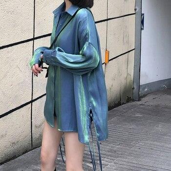 2019 Korean Version Autumn Womens Fashion Trendy Reflective Glittering Shirts Bright Loose Big Size Silk Tops Blouse Female