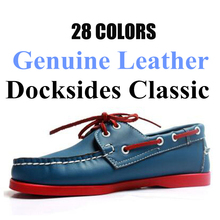 Men Women Genuine Leather Docksides Classic Boat Shoes,Homme Femme Blue White Plus Big Size 36-46 Brand Flats Loafers 2019A069