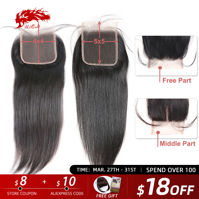 Ali Queen 4x4 / 5x5 Transparent Lace Closure Pre-Plucked With Baby Hair 10~20inch Brazilian Straight Virgin Human Hair Closure