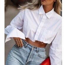 Women Long Sleeve Korean K-POP Shirt 2021 Spring Fashion Ladies Club Street Sexy Short White Top Blouse