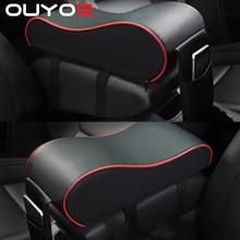Coussin d'accoudoir Central de voiture en cuir noir, repose-bras de Console centrale automatique, boîte de siège, tapis de coussin, housse d'oreiller, style de protection du véhicule