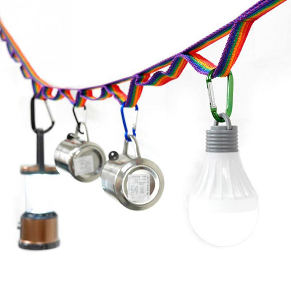1.9M Multifunctional Camping Hanging Rope Colorful Rope Rainbow Tent Cup Hang Lamp Hang Outdoors Clothes Line Weave Bring