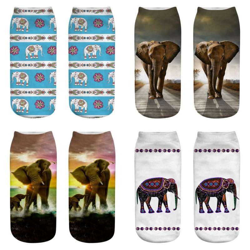 2019 New Elephant 3D Printing Animal Socks Brand Sock Fashion Unisex Cartoon Socks Meias Female Funny Low Ankle Sock Women Man