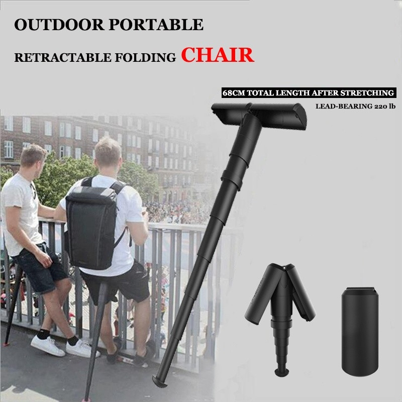 Outdoor Hiking Plastic Pocket Chair Shrinkable Chair Magic Portable Folding Stool Queue Artifact