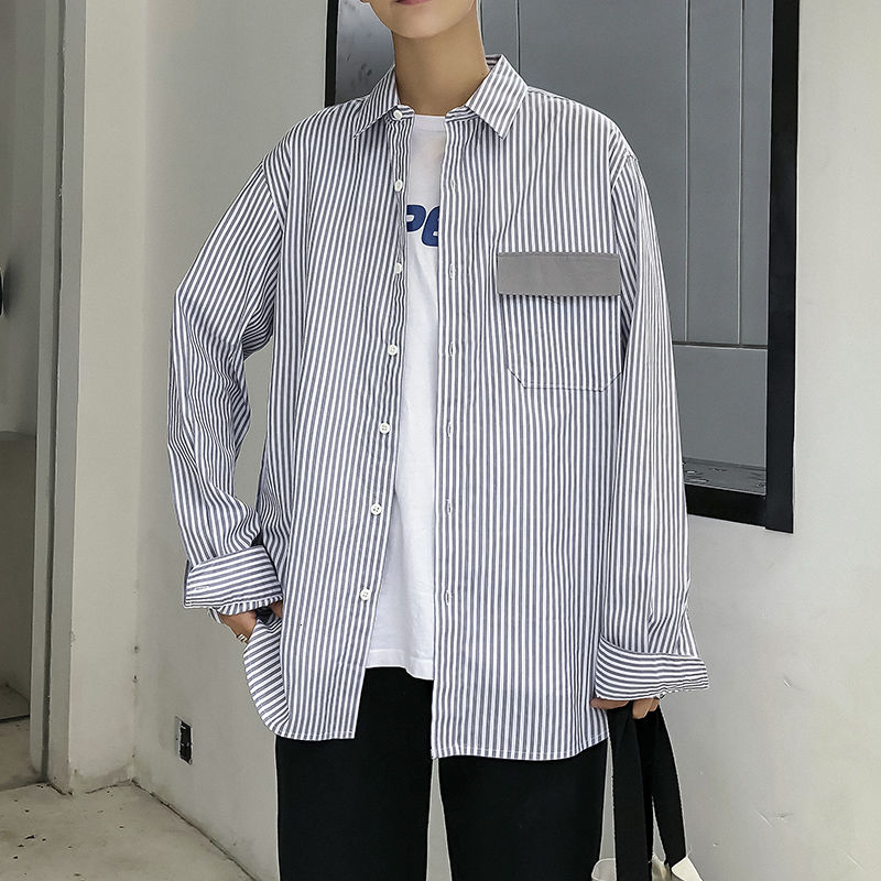 New Men Shirt Dress Long Sleeve Cotton Casual Men's Striped Personalized Contrast Color Bag Cover Shirts Brand-clothing