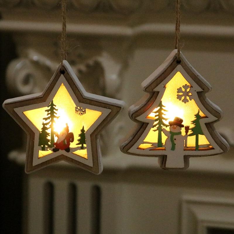Christmas Tree Pendants New Christmas Decorations Christmas Lights Wood Pendants Christmas Gifts Wooden Christmas Decorations in Pendant Drop Ornaments from Home Garden