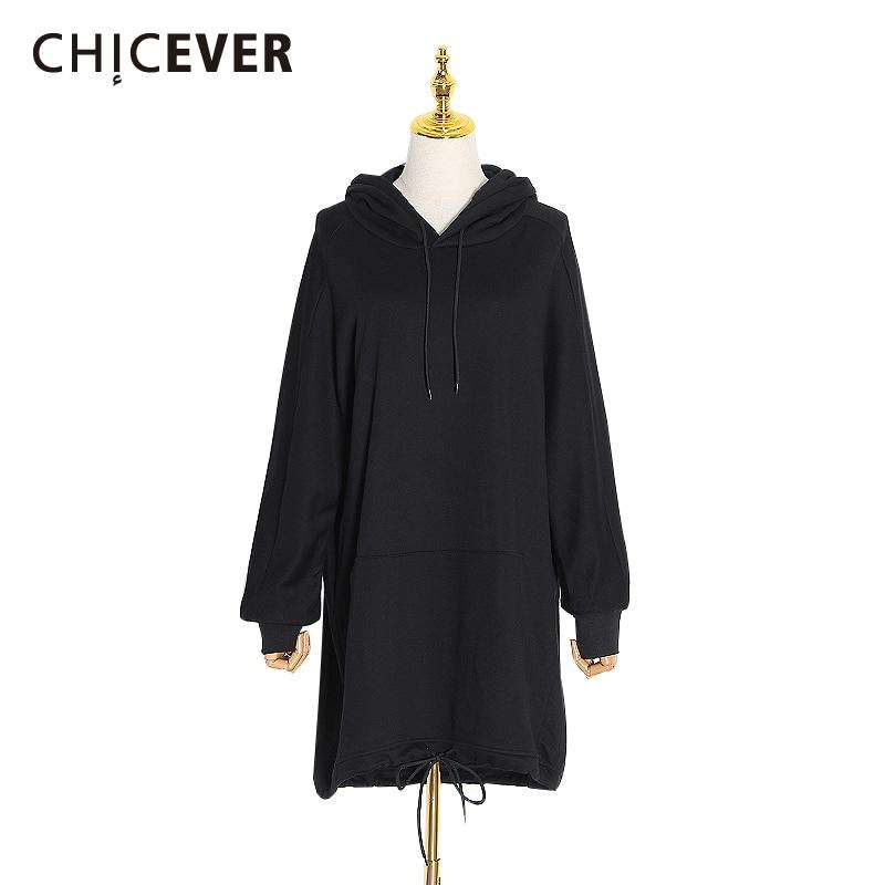 CHICEVER String Sweatshirt For Women Hoodies Casual Loose Batwing Sleeve Long Sweatshirts Top Female Big Size Korean Fashion New