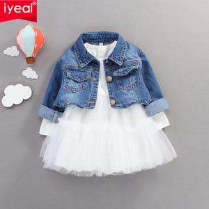 Iyeal Prinses Meisjes Kleding Pak Lange Mouwen Jeans Jas + Tutu Mesh Jurk 2 Stuks Peuter Meisje Set Kleding Kinderen kleding