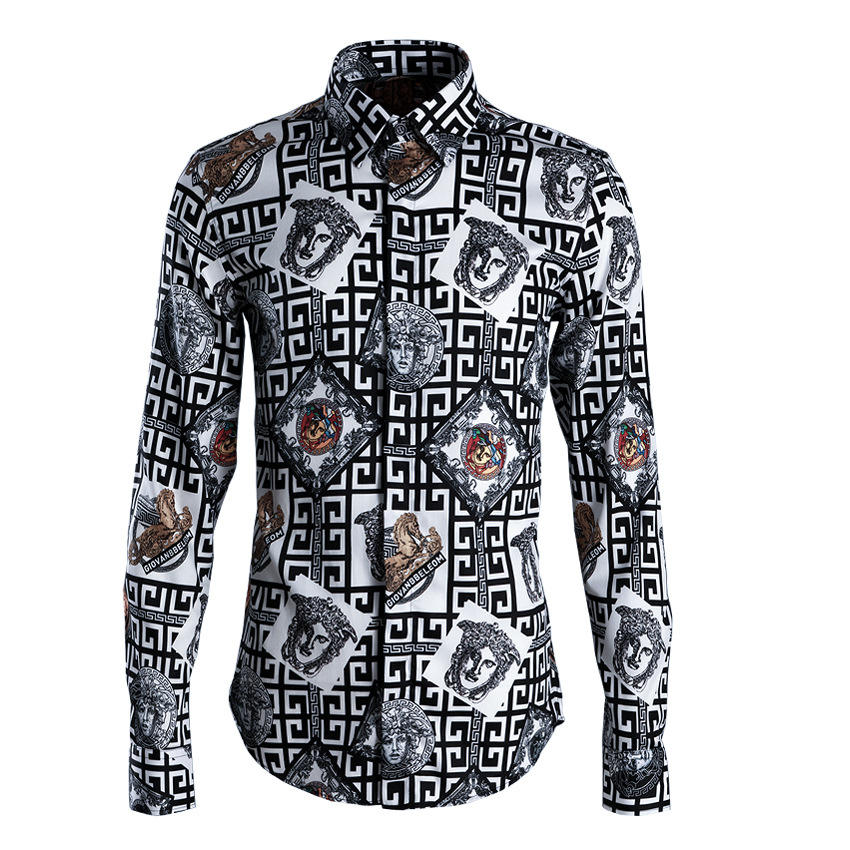 2019 nieuwe labyrint avatar geometrische mannen shirt printing mode Slim mannen tij kaart-in Casual tshirts van Mannenkleding op  Groep 1