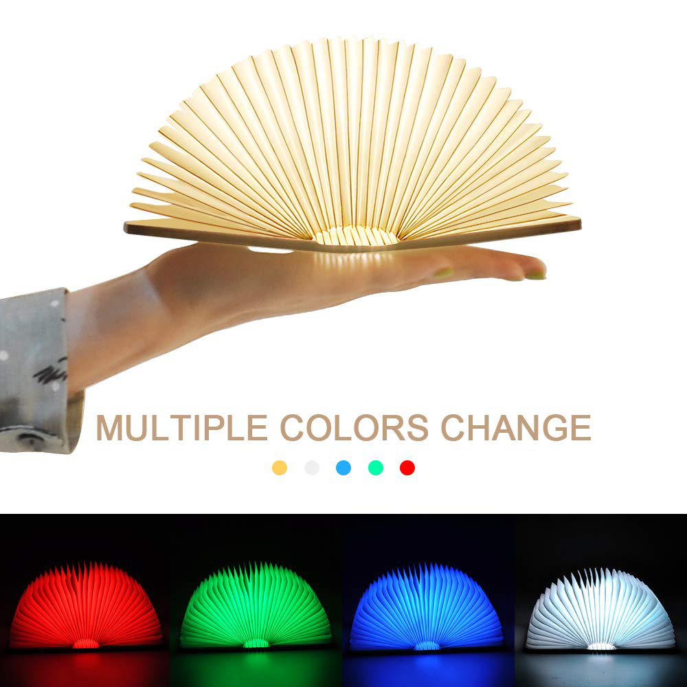 3D Creative LED Book Light 3 Color RGB Wooden Book Lamp Portable Night Light USB Rechargeable Reading Desk Table Lamp Room Decor image
