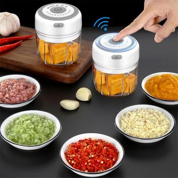 100 250ml elektryczny czosnek Masher wyciskacz do czosnku warzyw Chili mięso czosnek Chopper naciśnij USB Masher maszyna gadżety kuchenne tanie i dobre opinie CN (pochodzenie) Garlic puller Na stanie STAINLESS STEEL Owoców i warzyw narzędzia