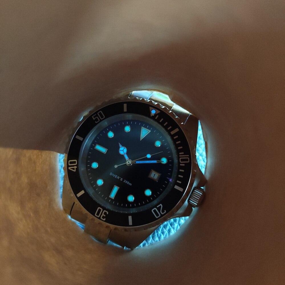 2019 neue Mode Edelstahl Quarz Uhren 200M Wasserdichte Metall Armband Luxus Schwarz Gost Tauchen Armbanduhr für Männer männlichen - 3