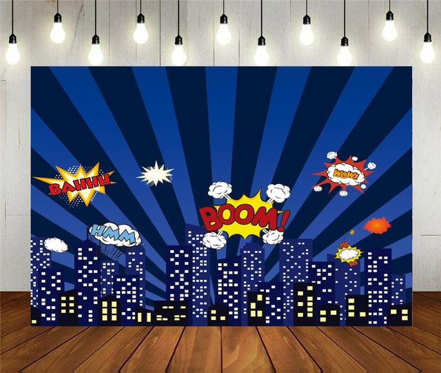 Photo Studio Propsฉากหลังอาคารเวกเตอร์Boom Blastการ์ตูนพื้นหลังไวนิลสำหรับเด็กBirthday Partyตกแต่ง