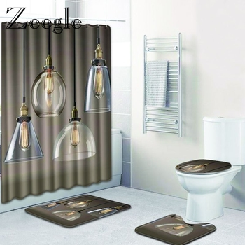 Zeegle Modern Printed Bathroom Carpet Non Slip Bathroom Mat Washing Machine Rugs with Waterproof Shower Curtain 4PCS