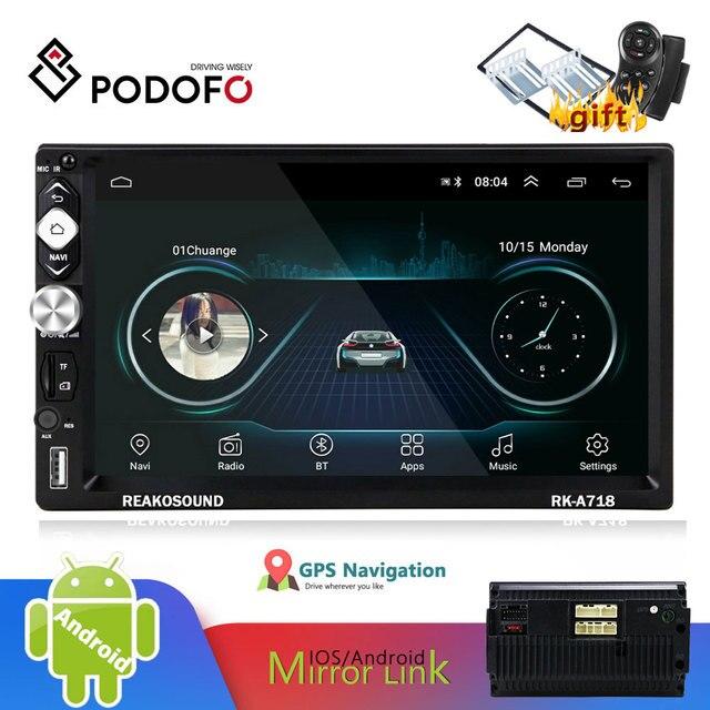 Podofo 2 الدين راديو السيارة أندرويد العالمي لتحديد المواقع بلوتوث الملاحة شاشة تعمل باللمس واي فاي الصوت ستيريو FM سيارة الوسائط المتعددة MP5 لاعب