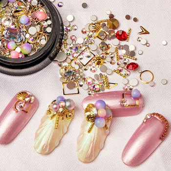 3D Nail Rhinestones Stones Colorful DIY Design Decorations with Nail Curved Tweezer Crystals Nail Art Decor image