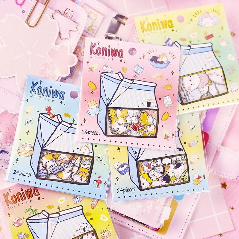 1set  Kawaii Stationery Stickers Milk Box Cartoon Cat Diary Planner Decorative Mobile Stickers Scrapbooking DIY Craft Stickers