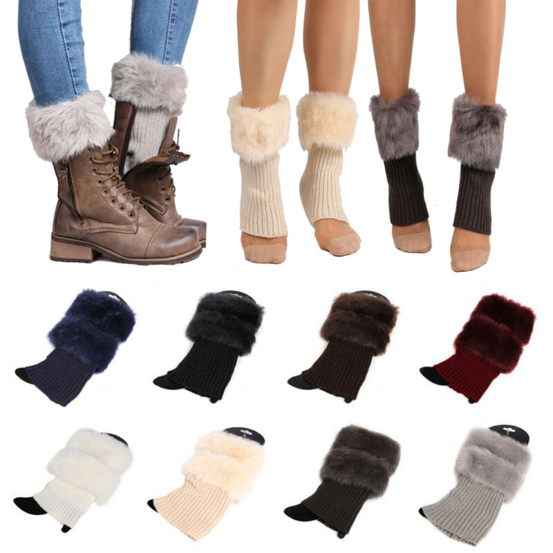 Women Winter Crochet Knit Boot Socks Faux Fur Cuff Toppers Trim Warm Leg Warmers