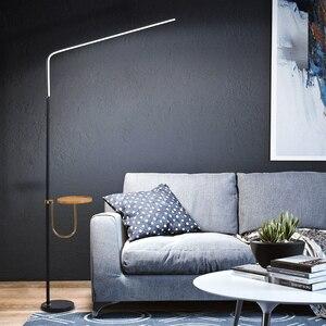 Image 3 - Postmodern minimalismo chão LEVOU lâmpada para quarto Preto/Branco Ferro candeeiro de pé AC110 220v 24W Salas de estudo de Iluminação de Escritórios