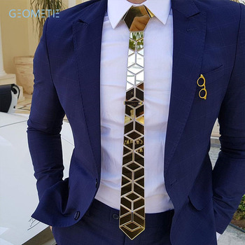 Glossy Gold Mirror Necktie Diamante Shape Slim Men Bling Accessory Wedding Night Club Singer DJ Fashion Show Party Tie Suits