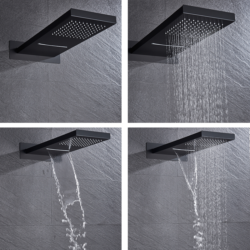 H5979361ab8d3484a8cbeb31da2e0d1c0N Matte Black Rain Waterfall Shower Set Thermostatic Mixer Bath Shower Mixer Tap 3 ways Shower Faucet Wall Mounted