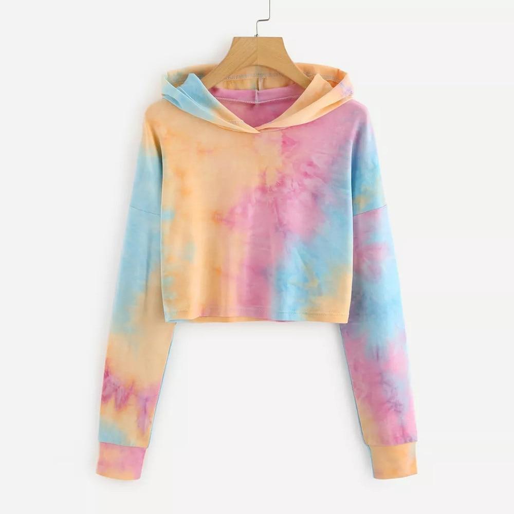 Hoodies Women Autumn 2020 rainbow Tie dye Hooded Streetwear Harajuku Casual Crop Top Hoodie Sweatshirts Female Pullovers Women