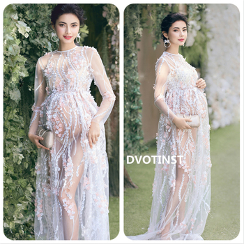 Dvotinst Women Photography Props Lace Perspective Maternity Dresses Full Sleeve Pregnancy Dress Studio Shoot Clothes Photo Props