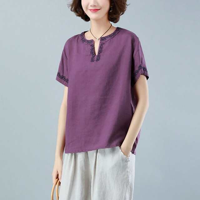 Oversized Cotton Linen Shirt Women Summer Loose Casual Tops New 2020 Simple Style Vintage Embroidery Woman Blouses Shirts P1316 4