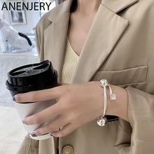 ANENJERY 925 Sterling Silver Ball Square Bracelet for Women Geometric Glossy Simplicity Open Cuff Bangle Gifts S-B500