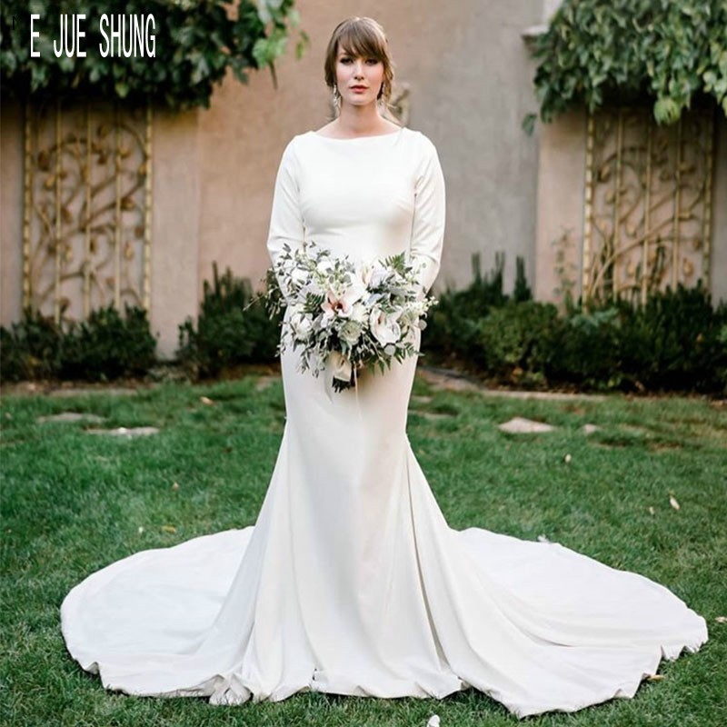 E JUE SHUNG Elegant Mermaid Wedding Dresses O-Neck Long Sleeves Bridal Dresses Buttons Back White Wedding Gowns Robe De Mariee