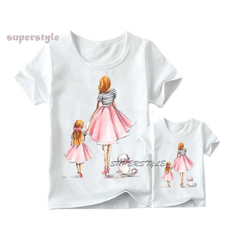 Jednakowe stroje rodzinne mama córka dziewczyny ubrania T-shirt Tee koreański moda Harajuku Kawaii biały T-Shirt dla dzieci T-shirt, dHKP180