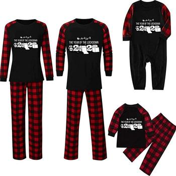2020 Christmas Family Matching Sets Long Sleeve Blouse Plaid Pants Family Matching Pajamas Sleepwear Set Christmas clothes image