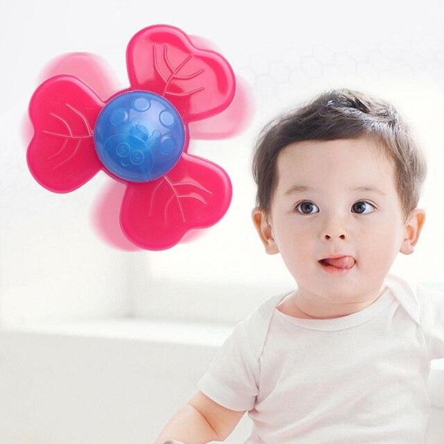 Crianças clássico engraçado crianças brinquedos bonito dos desenhos animados insetos ventosa spinner brinquedo do bebê chocalho rotação topo banho brinquedos para crianças