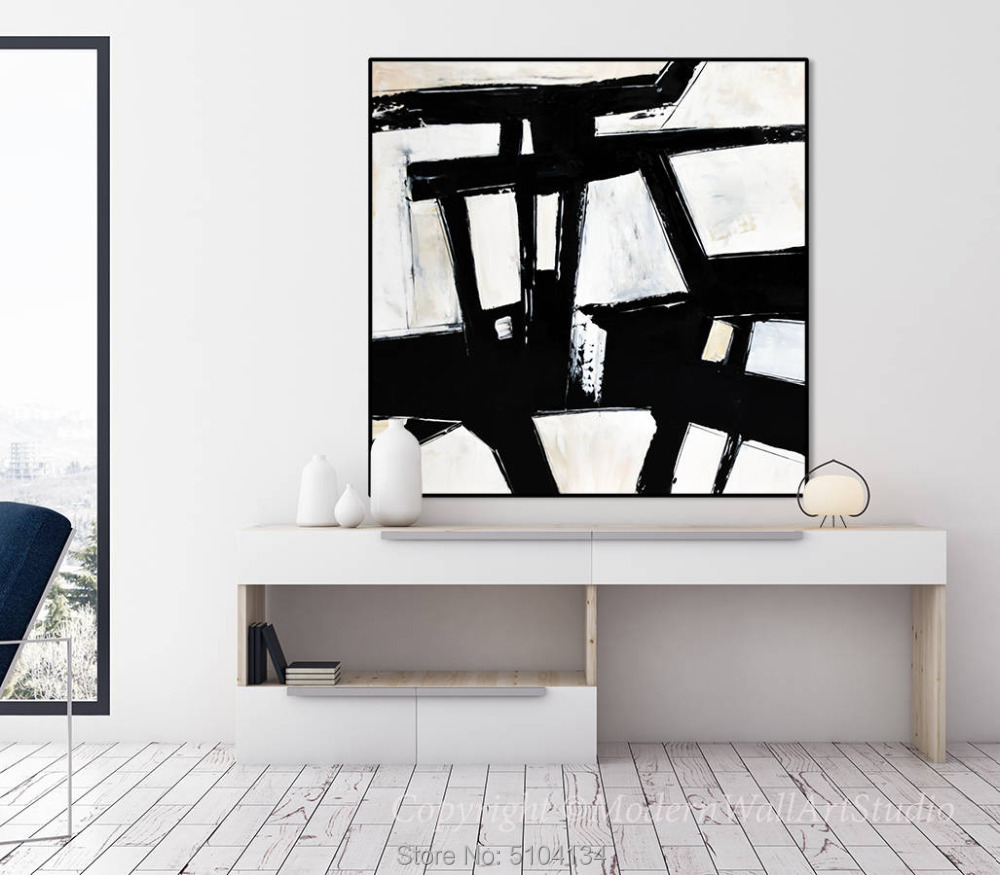 Hand painted Abstract Painting on canvas Panoramic Black and White Wall Art Handmade Modern Decor