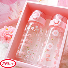 Summer pink cherry blossom glass water bottle sport crystal