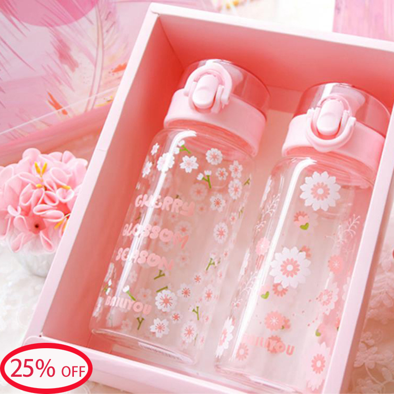 Summer pink cherry blossom glass water bottle sport crystal bounce cover flask portable adults kids baby sports <font><b>drink</b></font> bottles image