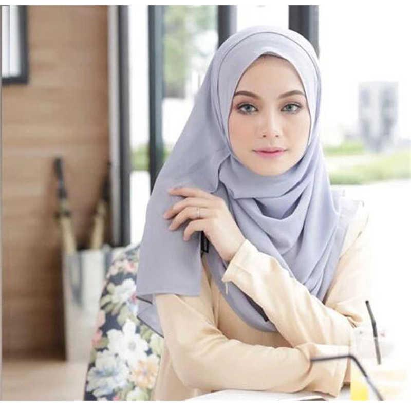 70*170CM 쉬폰 Hijab 랩 스카프 단색 여성 이슬람 더블 루프 인스턴트 터번 이슬람 Shawls Abaya 터키어 Headscarf