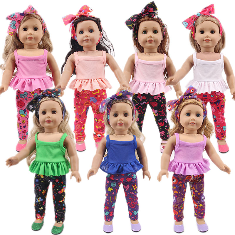 Doll Clothes Set=Scarf+Vest+Pants Fit 18 Inch American&43 Cm Born Baby Our Generation Christmas Birthday Girl's Gift