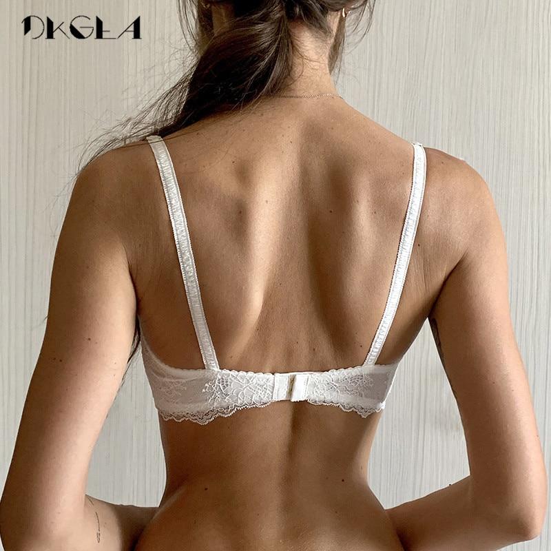 Ultrathin Underwear Plus Size 34 36 38 C D Cup Sexy Bras Embroidery Lingerie Lace Women Transparent Bra Half Cup White Brassiere 2