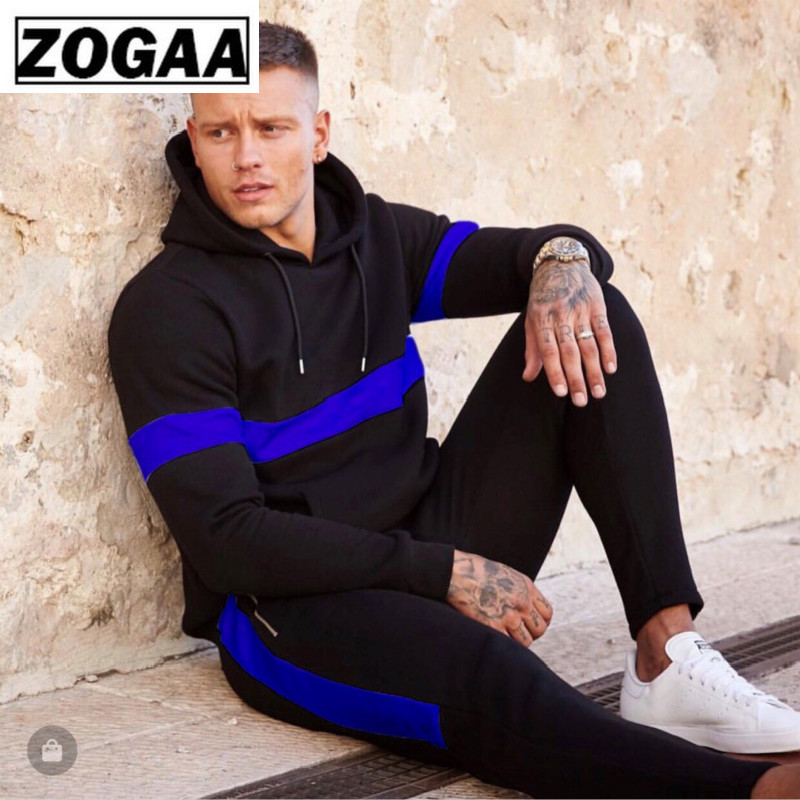 ZOGAA Man's Sports Tracksuit Casual Solid Striped Hoodie And Full Length Pants Outwear Sweatsuits 2pcs Tops+pants Men Fashion